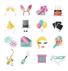 Holiday and party icons set with colorful balloons vector