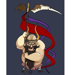 Cartoon aggressive man viking with a banner vector