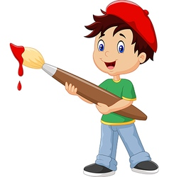 Little boy painting with paintbrush vector image