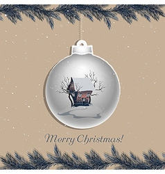 Christmas ball with winter landscape vector