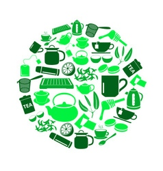 Tea theme green simple icons set in circle eps10 vector