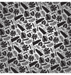 Tropical leavesbranches pattern backdropblack vector