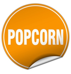 Popcorn round orange sticker isolated on white vector
