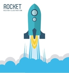 Rocket desing spaceship icon flat vector