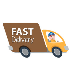a man on the truck quickly delivers the goods vector image vector image