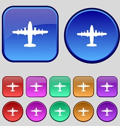 Aircraft icon sign a set of twelve vintage buttons vector