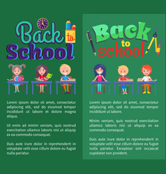 back to school posters with stationary and pupils vector image