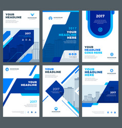 Blue brochures annual reports flyers design vector
