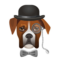 Boxer dog in bowler hat bow and magnifier glass vector