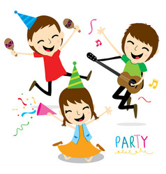 Boy and girl enjoy party cute cartoon vector