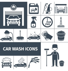 Car wash service icons set black vector