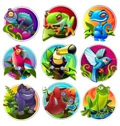 Cartoon tropical animals vector image vector image