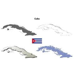 Cuba outline map set vector