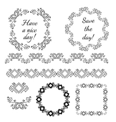Decorative vintage frames and design elements vector