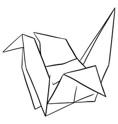 doodle paper crane on white background vector image vector image