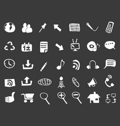 doodle web icons on black background vector image vector image