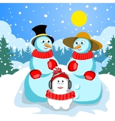 Family snowmen dad mom and son vector