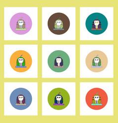flat icons halloween set of pumpkin and skull vector image