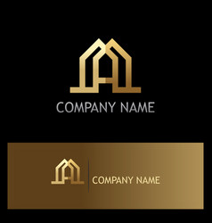 gold letter a building business logo vector image