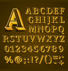 Golden english alphabet on khaki background vector