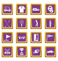 golf items icons set purple vector image vector image