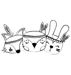 Grunge cute animals head friends with feathers vector