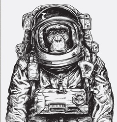 Hand drawn monkey astronaut vector