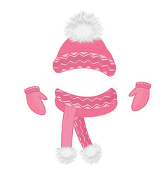 hat with a fluffy pompon scarf mittens set of vector image vector image