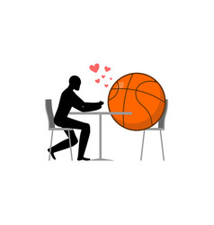 lover basketball ball and guy in cafe lovers in vector image vector image