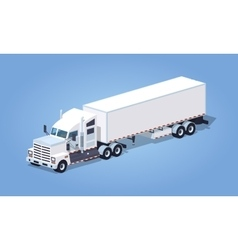 Low poly heavy american white truck with the vector image vector image