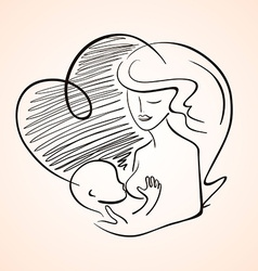 Mother breastfeeding baby child vector
