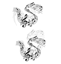 Music notes waves and compositions vector image vector image