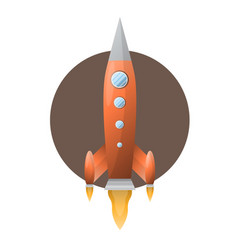 Orange space rocket with blue portholds on brown vector
