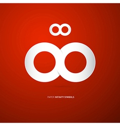 Paper Infinity Symbol on Red Background vector image vector image