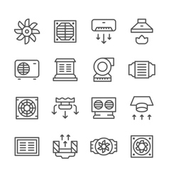 Set line icons of ventilation vector image