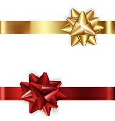 Set of decorative golden and red bows with vector