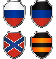 Set of flags and georgievsky ribbon in shields vector