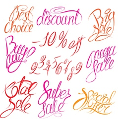 Set of hand written words Buy now Best choice vector image vector image