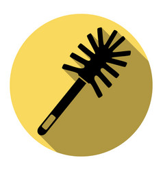 Toilet brush doodle flat black icon with vector