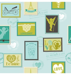 Valentine Stamps Love Background vector image vector image
