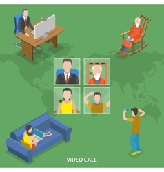 Video call isometric flat concept vector