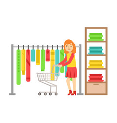 woman shopping in clothes store colorful vector image