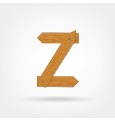 Wooden Boards Letter Z vector image