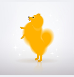 yellow little dog is standing on its hind legs vector image