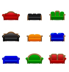 Set sofa icons vector