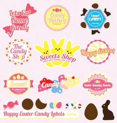 Easter candy labels and icons vector