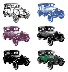 Retro automobile set vector