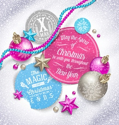 Cardboard labels with christmas greeting and vector