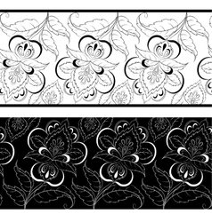 Seamless outline floral background vector image