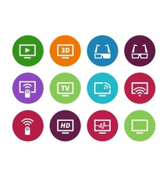 Tv circle icons on white background vector